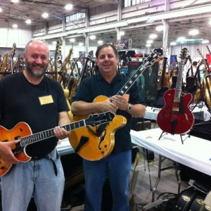 David with Benedetto CEO & 7 String guitarist Howard Paul at the Summer Philly Vintage Guitar Show