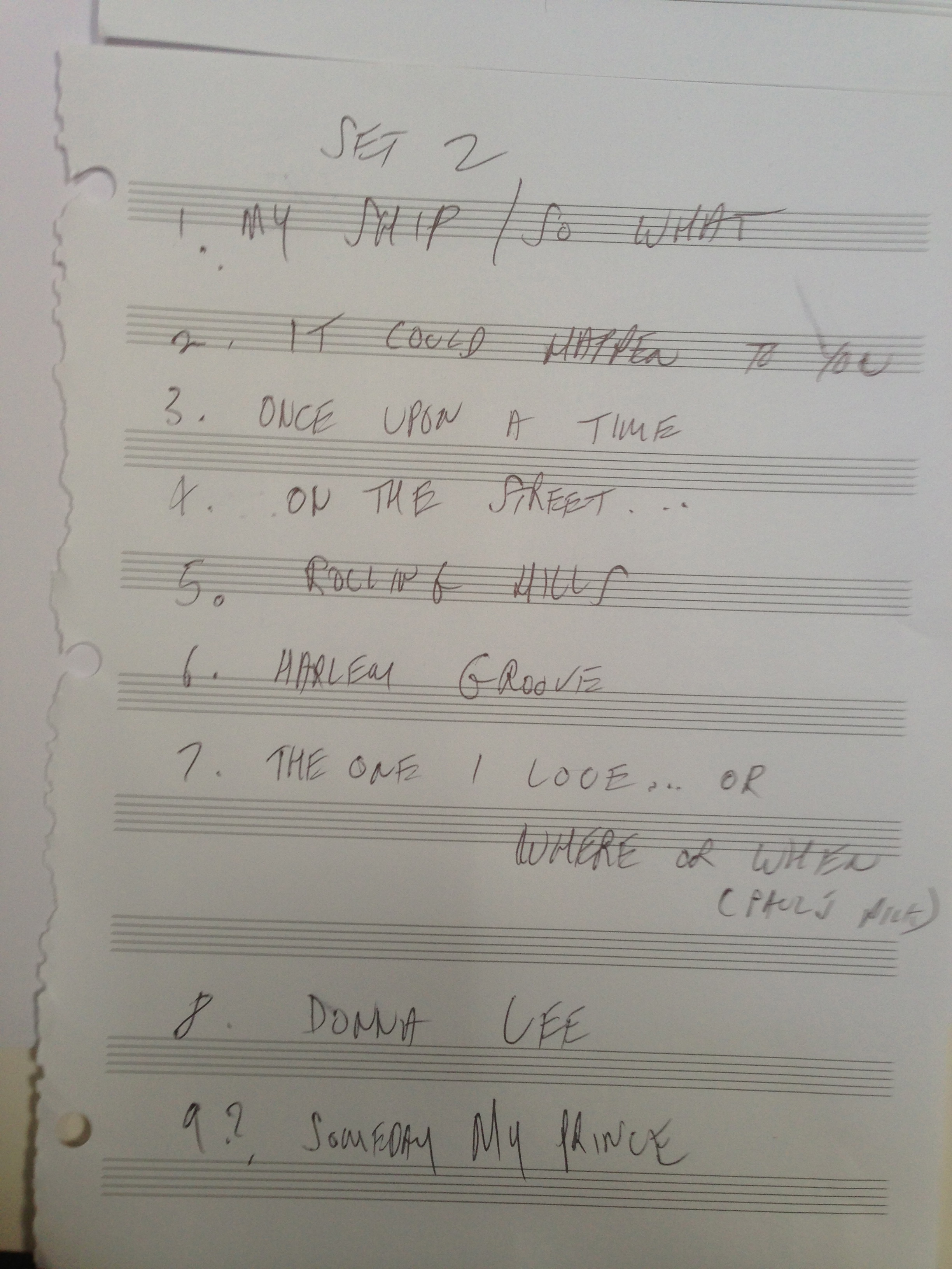Set list for 2nd set in Ballina